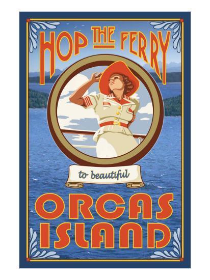 Orcas Island, Washington, Hop the Ferry-Lantern Press-Art Print