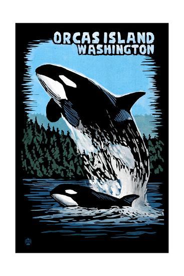 Orcas Island, Washington - Orca and Calf Scratchboard-Lantern Press-Art Print