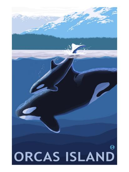 Orcas Island, Washington, Orca and Calf-Lantern Press-Art Print