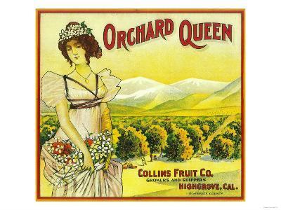 Orchard Queen Orange Label - Highgrove, CA-Lantern Press-Art Print