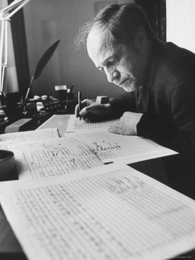 Orchestra Conductor Pierre Boulez Studying and Writing Music in His Home-Carlo Bavagnoli-Premium Photographic Print