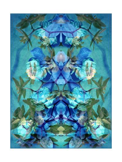Orchid Rose Ornament Blue-Alaya Gadeh-Art Print