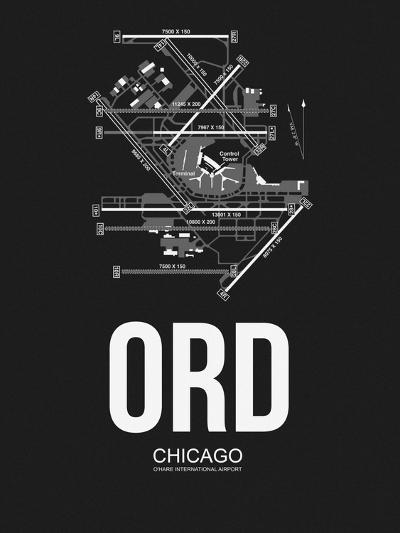 ORD Chicago Airport Black-NaxArt-Art Print