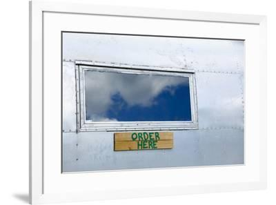Order here sign on a vintage trailer, Phoenicia, New York, USA-Julien McRoberts-Framed Premium Photographic Print