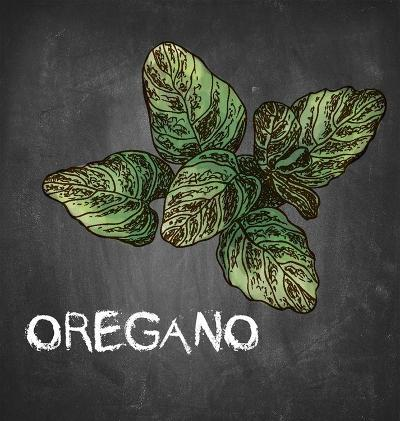 Oregano on Chalkboard-Color Me Happy-Art Print