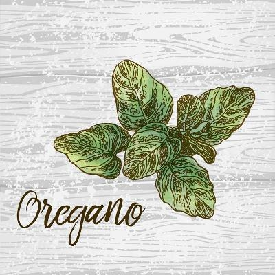 Oregano on Wood-Color Me Happy-Art Print