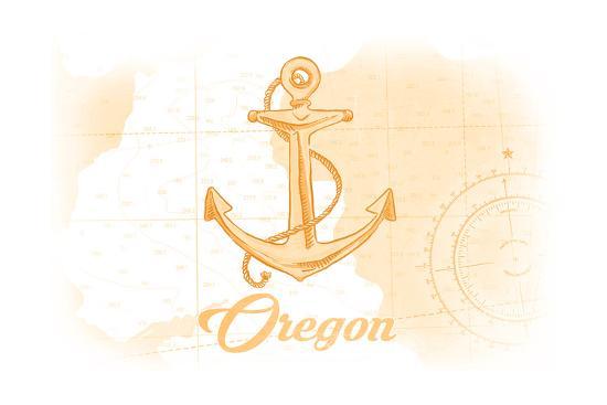 Oregon - Anchor - Yellow - Coastal Icon-Lantern Press-Art Print