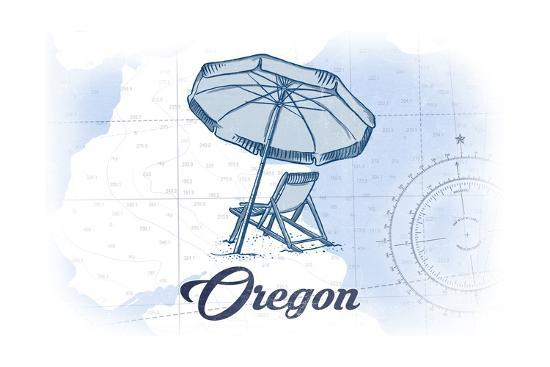 Oregon - Beach Chair and Umbrella - Blue - Coastal Icon-Lantern Press-Art Print