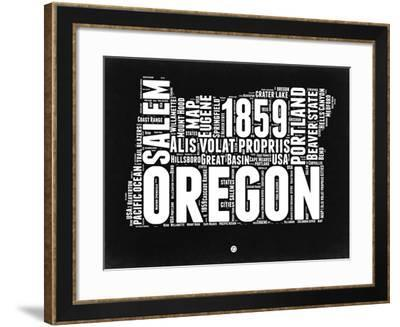 Oregon Black and White Map-NaxArt-Framed Art Print