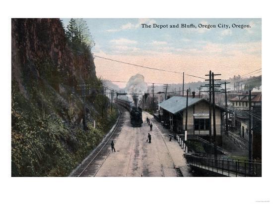 Oregon City, Oregon - Railroad Depot and Bluffs-Lantern Press-Art Print