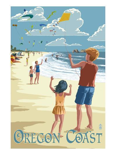 Oregon Coast - Kite Flyers-Lantern Press-Art Print