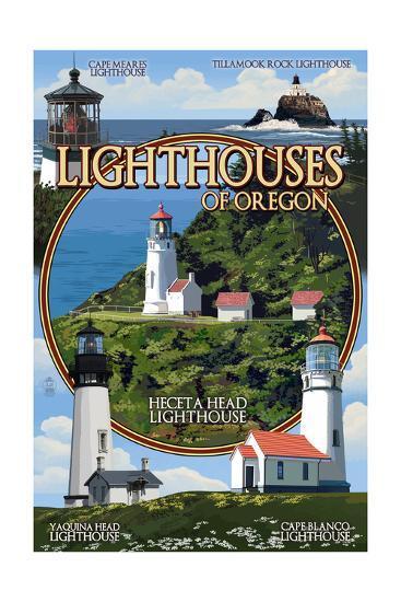 Oregon Coast - Lighthouses Montage-Lantern Press-Art Print