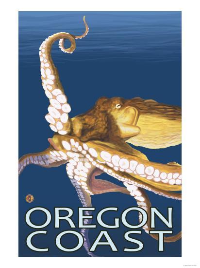 Oregon Coast Octopus-Lantern Press-Art Print