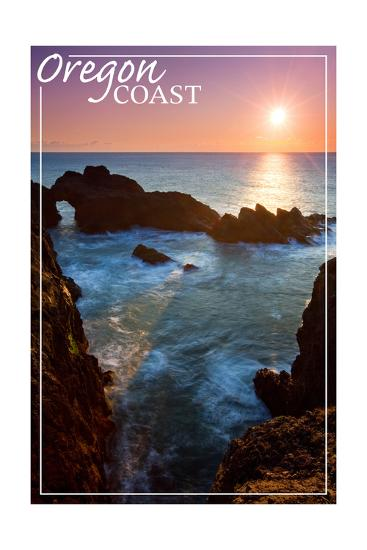 Oregon Coast - Rocky Cove and Sunset-Lantern Press-Art Print