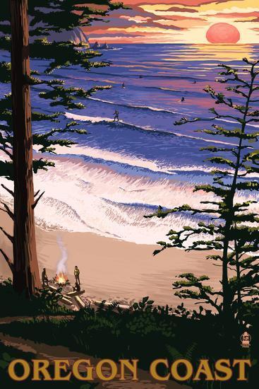 Oregon Coast Sunset Surfers-Lantern Press-Wall Mural