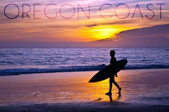 Oregon Coast - Surfer and Sunset-Lantern Press-Wall Mural