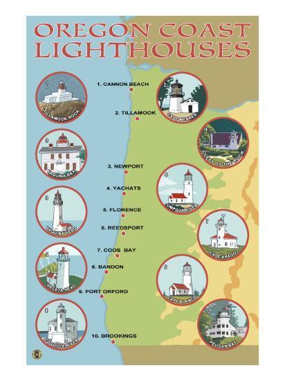 Oregon Coast, View of the Coastal Lighthouses-Lantern Press-Art Print