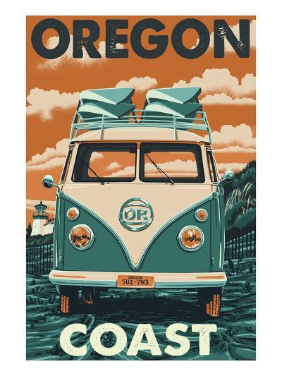 Oregon Coast - VW Van-Lantern Press-Art Print