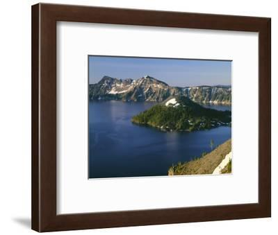 Oregon. Crater Lake NP, sunrise on Crater Lake and Wizard Island with Garfield Peak-John Barger-Framed Photographic Print