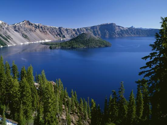 Oregon. Crater Lake NP, Wizard Island and Crater Lake with a grove of mountain hemlock-John Barger-Photographic Print