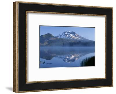 Oregon. Deschutes NF, South Sister reflects in the misty waters of Sparks Lake in early morning.-John Barger-Framed Photographic Print