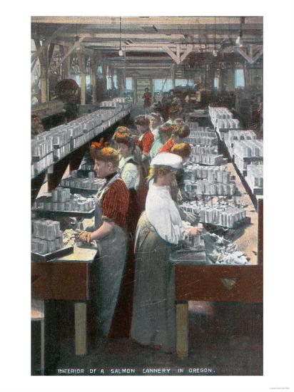 Oregon - Interior View of Salmon Cannery Workers Canning-Lantern Press-Art Print