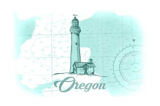 Oregon - Lighthouse - Teal - Coastal Icon-Lantern Press-Art Print