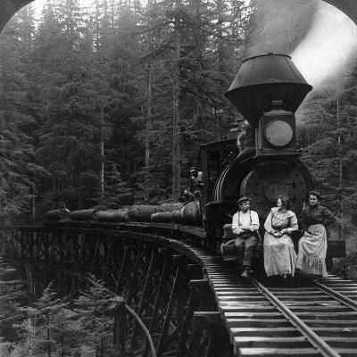 Oregon: Logging Train--Giclee Print