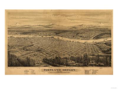 Oregon - Map of Portland-Lantern Press-Art Print