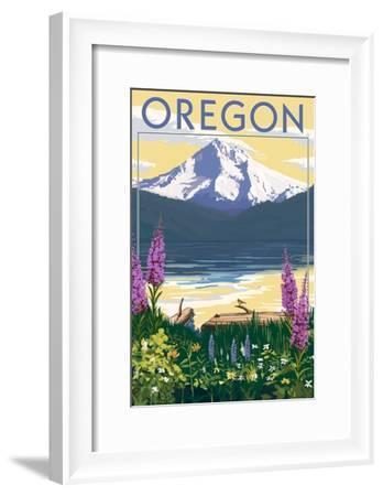 Oregon - Mountain and Lake-Lantern Press-Framed Art Print