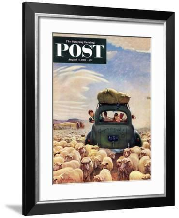 """""""Oregon or Bust"""" Saturday Evening Post Cover, August 4, 1951-John Clymer-Framed Giclee Print"""