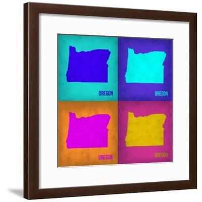Oregon Pop Art Map1-NaxArt-Framed Premium Giclee Print