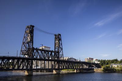 Oregon, Portland. Steel Bridge Spans the Willamette River-Brent Bergherm-Photographic Print