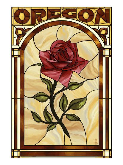 Oregon - Rose Stained Glass-Lantern Press-Art Print