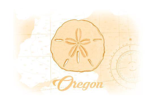 Oregon - Sand Dollar - Yellow - Coastal Icon-Lantern Press-Art Print