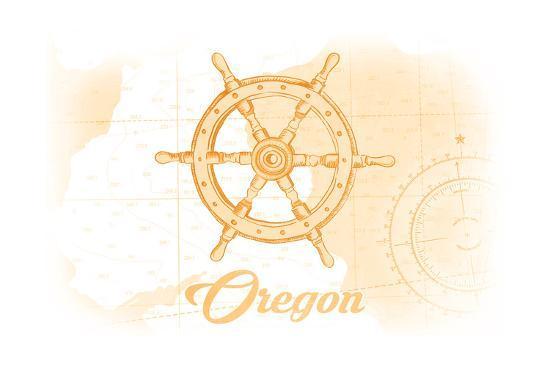 Oregon - Ship Wheel - Yellow - Coastal Icon-Lantern Press-Art Print