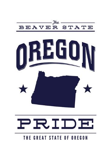Oregon State Pride - Blue on White-Lantern Press-Art Print