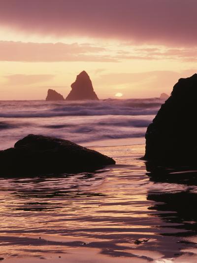 Oregon, Sunset over Sea Stacks at Meyers Creek Beach-Christopher Talbot Frank-Photographic Print