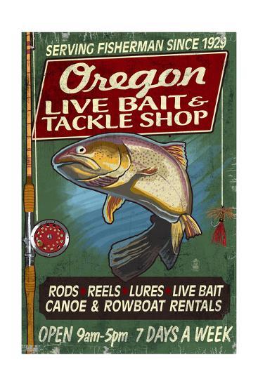 Oregon - Tackle Shop Trout Vintage Sign-Lantern Press-Art Print