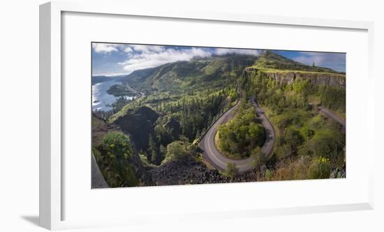 Oregon. Twisting, curving Historic Columbia River Highway (Hwy 30) below the Rowena Plateau-Gary Luhm-Framed Photographic Print