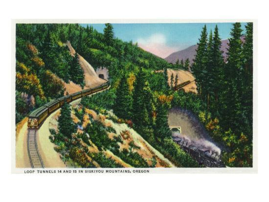 Oregon - View of No. 14 and 15 Train Tunnels in the Siskiyou Mountains, c.1936-Lantern Press-Art Print