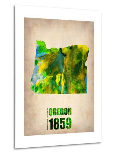 Oregon Watercolor Map-NaxArt-Metal Print