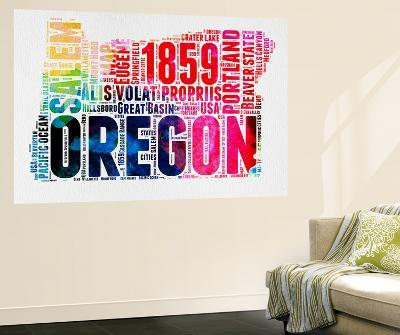 Oregon Watercolor Word Cloud-NaxArt-Wall Mural