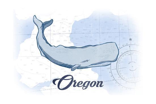 Oregon - Whale - Blue - Coastal Icon-Lantern Press-Art Print