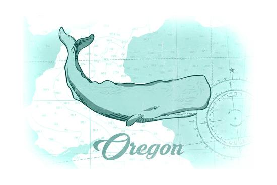 Oregon - Whale - Teal - Coastal Icon-Lantern Press-Art Print