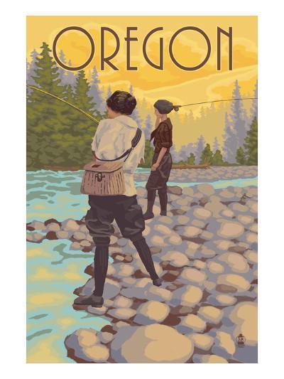 Oregon - Women Fishing-Lantern Press-Art Print