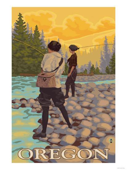 Oregon Women Fly Fishing-Lantern Press-Art Print