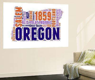 Oregon Word Cloud Map-NaxArt-Wall Mural