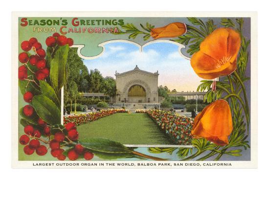 Organ Pavilion, San Diego, Season's Greetings--Art Print