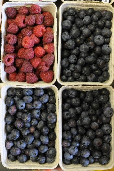Organic, Blueberries and Raspberries--Photo